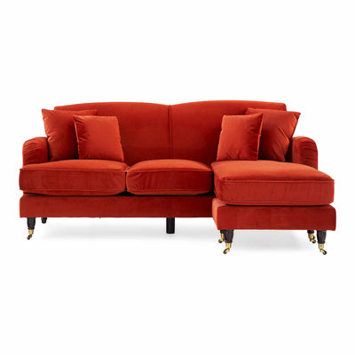 Piper Apricot Velvet Corner Chaise Couch from Roseland Furniture