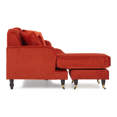 side view of the Piper Apricot Velvet Corner Chaise Sofa from Roseland Furniture