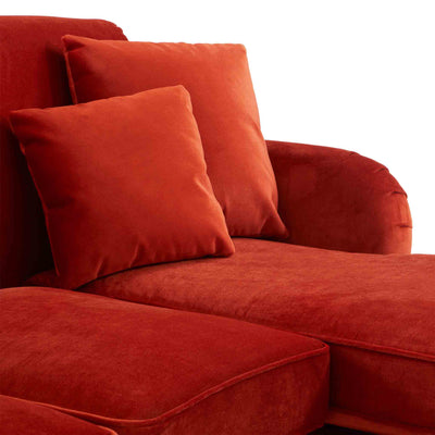 close up of the scatter cushions on the Piper Apricot Velvet Corner Chaise Sofa from Roseland Furniture