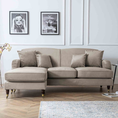 Piper Putty Velvet Corner Chaise Sofa lifestyle image