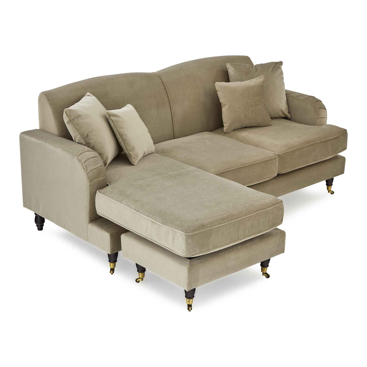 Piper Putty Velvet Corner Chaise Couch from Roseland Furniture