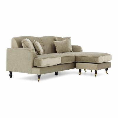 Piper Putty Velvet Corner Chaise Settee from Roseland Furniture