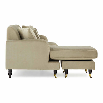 side view of the Piper Putty Velvet Corner Chaise Sofa from Roseland Furniture