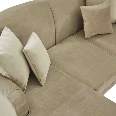 top view of the Piper Putty Velvet Corner Chaise Sofa from Roseland Furniture
