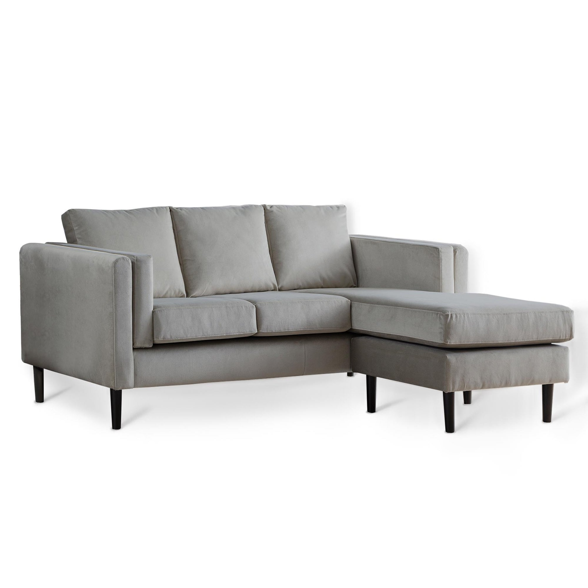 Sandringham Grey Velvet Corner Chaise Sofa from Roseland Furniture