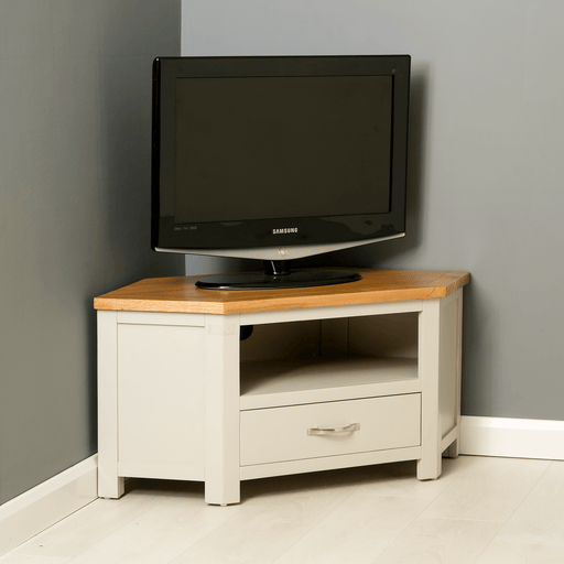 Mullion Grey Corner TV Stand