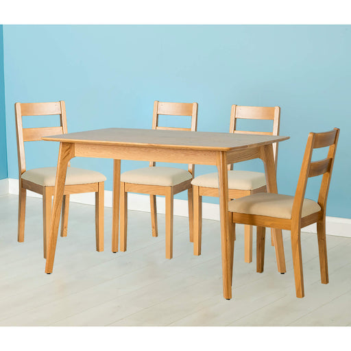 Nordic Oak 120cm Table Dining Set ( 4 Chairs )