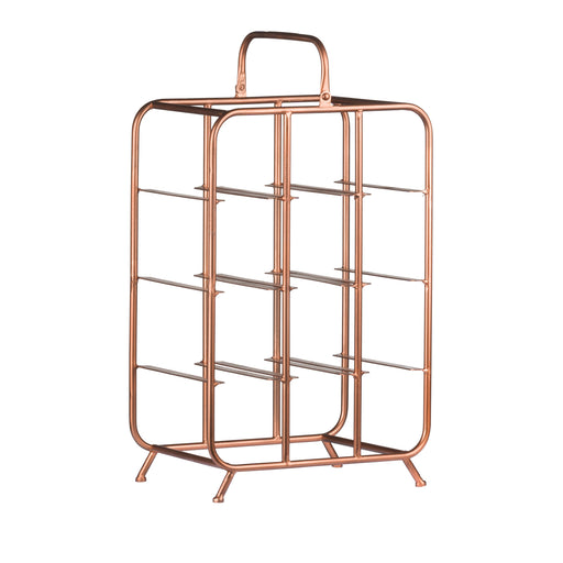 9 Bottle Industrial Copper Wine Rack