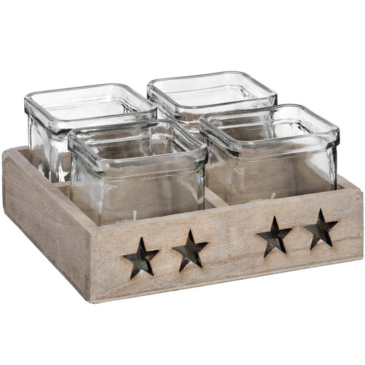 Four Star Glass Tea Light Holder