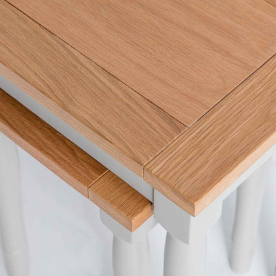 Close up of the oak tops on the Chichester Chester Grey 2 Nested Tables