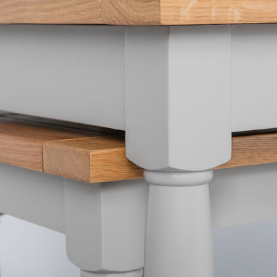 Close up of the painted grey solid wood frame on the Chichester Chester Grey Nest of Tables