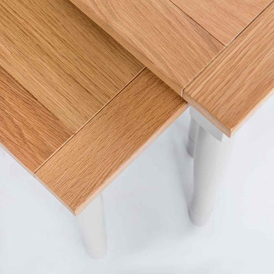 Close up of the oak tops on the Chichester Chester Grey Nest of Tables