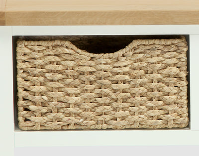 Daymer Cream Small Bench with Basket