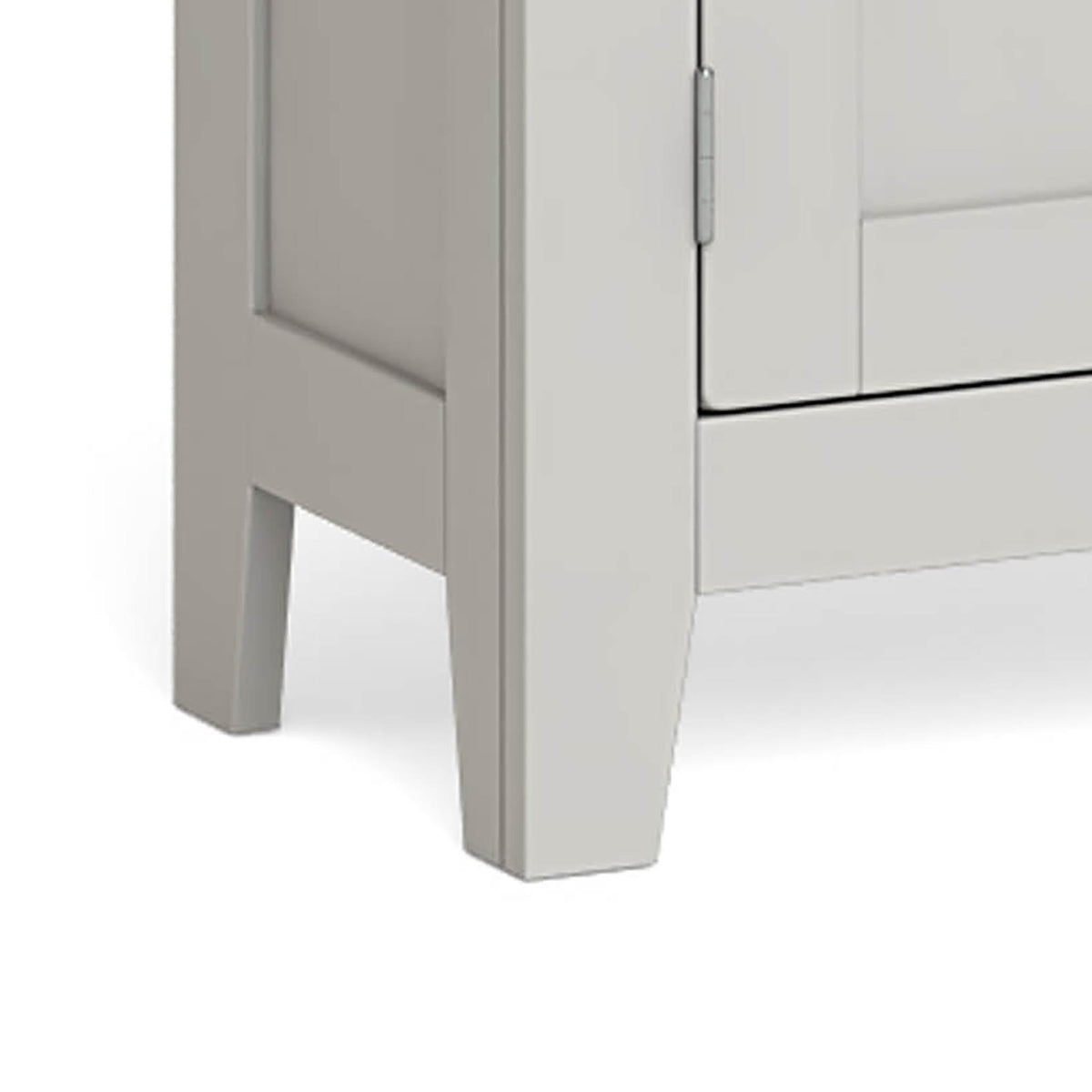 Lundy Grey Mini Cupboard - Close Up of Bottom Feet