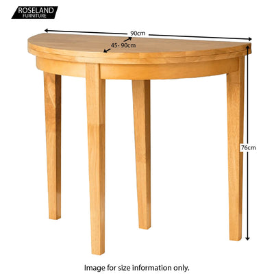 Oxford Light Oak Half Moon or full table Table  - Size Guide