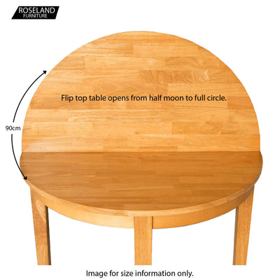 Oxford Light Oak Half Moon Table  just flip open for full table