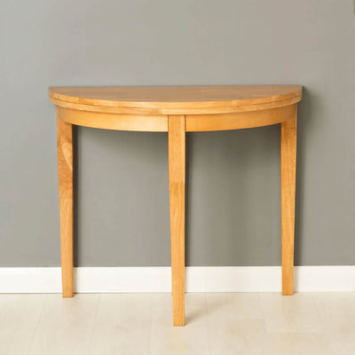 Oxford Light Oak Half Moon Table - front view