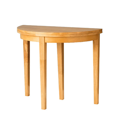 Oxford Light Oak Half Moon Table that flips to make full round table
