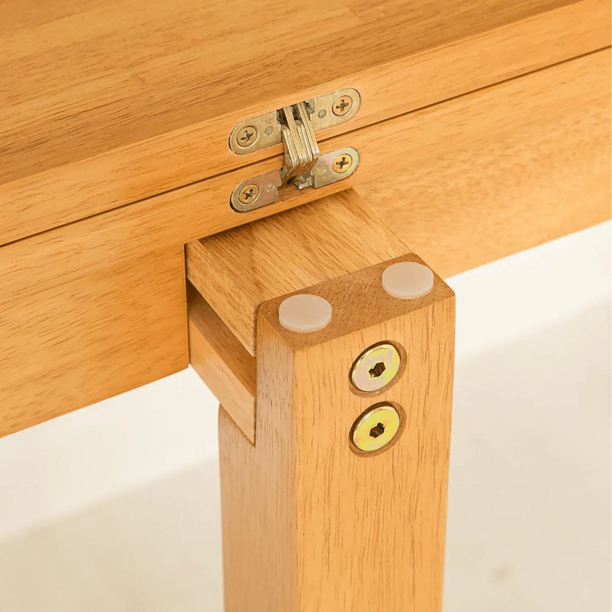 Oxford Light Oak Half Moon Table - hinge view