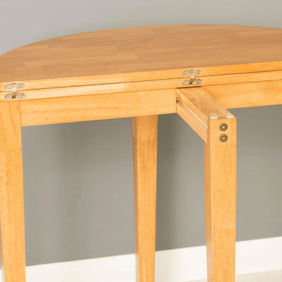 Oxford Light Oak Half Moon Table - back view