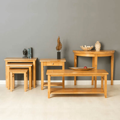 Oxford Light Oak Half Moon Table - lifestyle