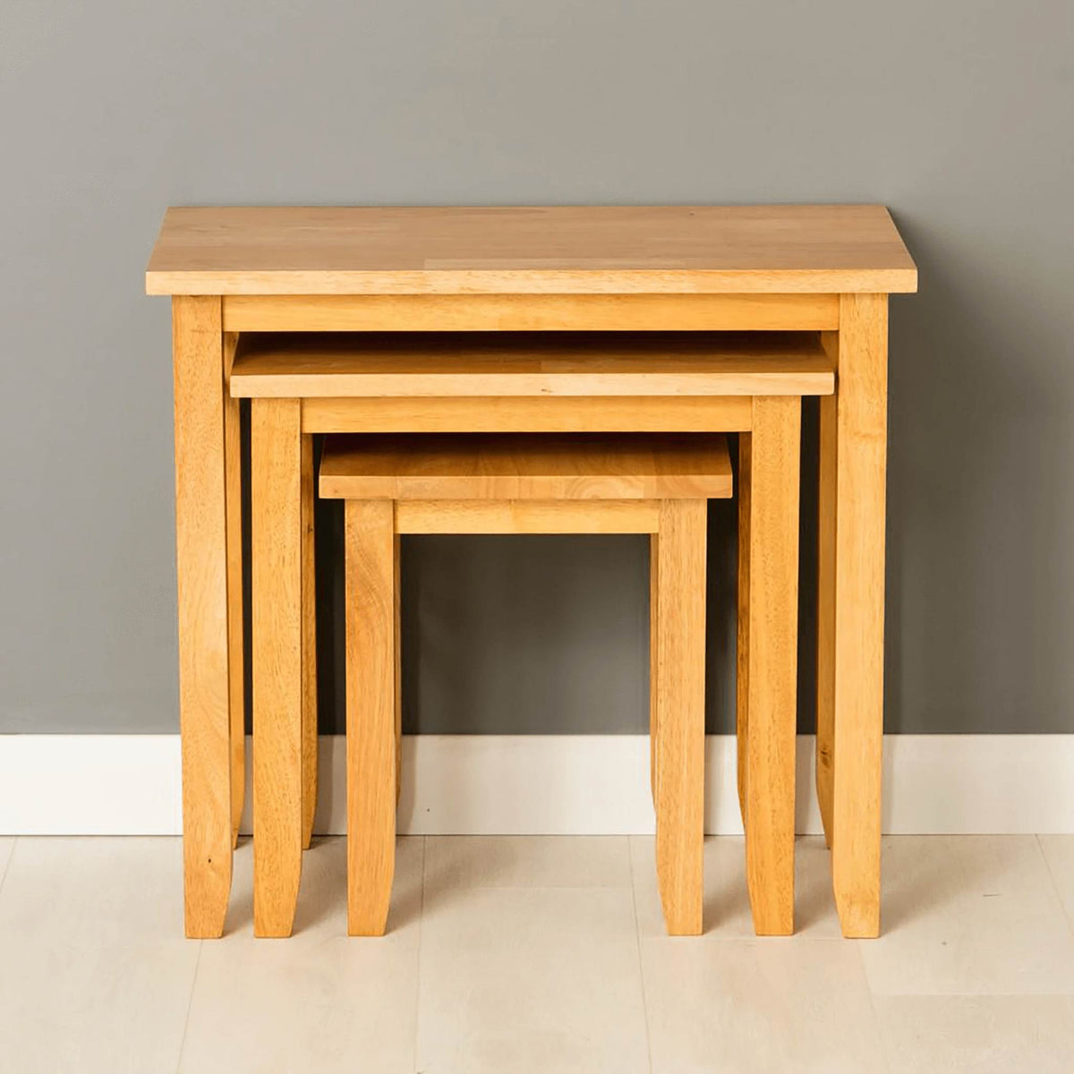 Oxford Light Oak Nest of Tables - nested view