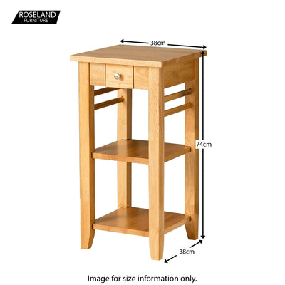Oxford Light Oak Telephone Table - Size Guide