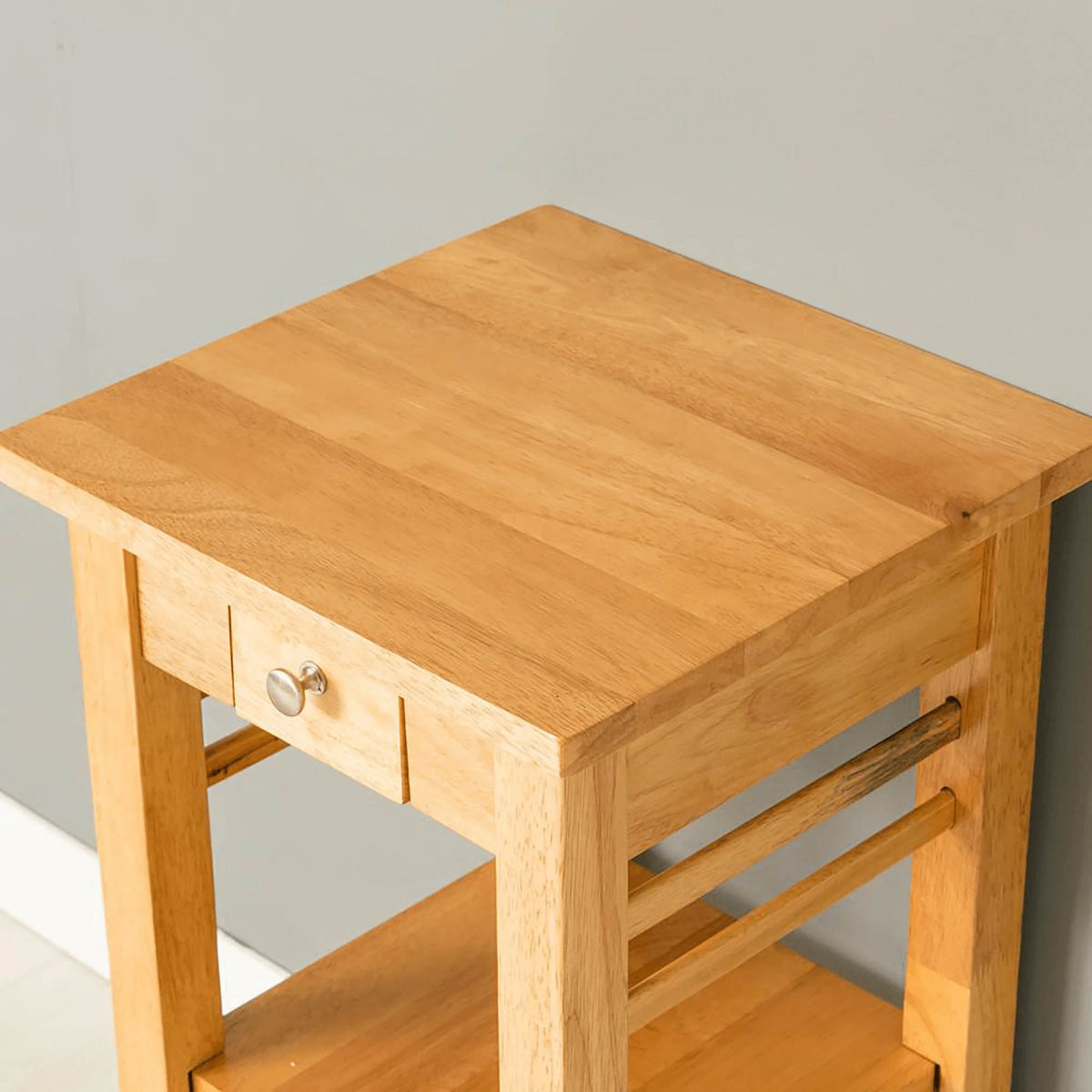 Oxford Light Oak Telephone Table top view