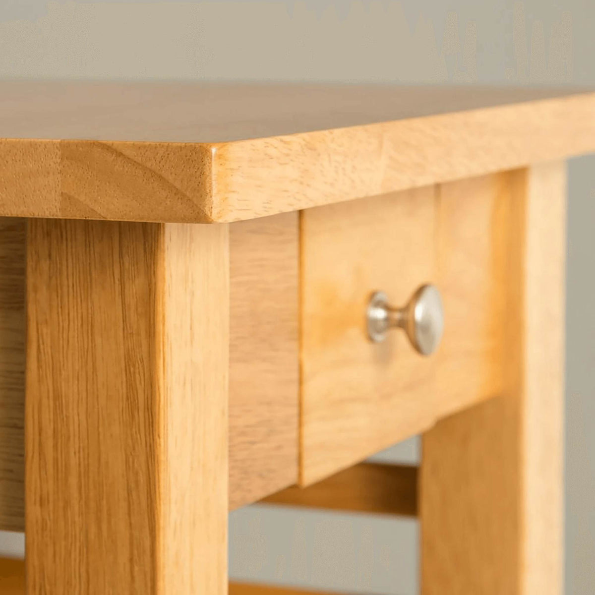 Oxford Light Oak Telephone Table - drawer close up