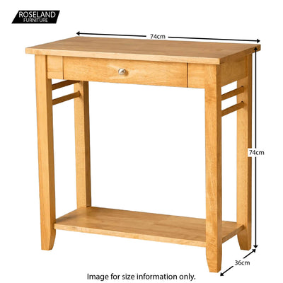 Oxford Light Oak Console Table - Size Guide