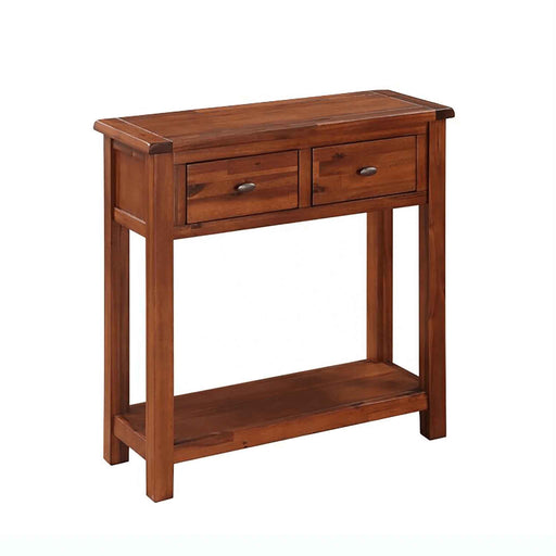 The Prussia Acacia Dark Wood Large Hallway Console Table with Drawers from Roseland Furniture
