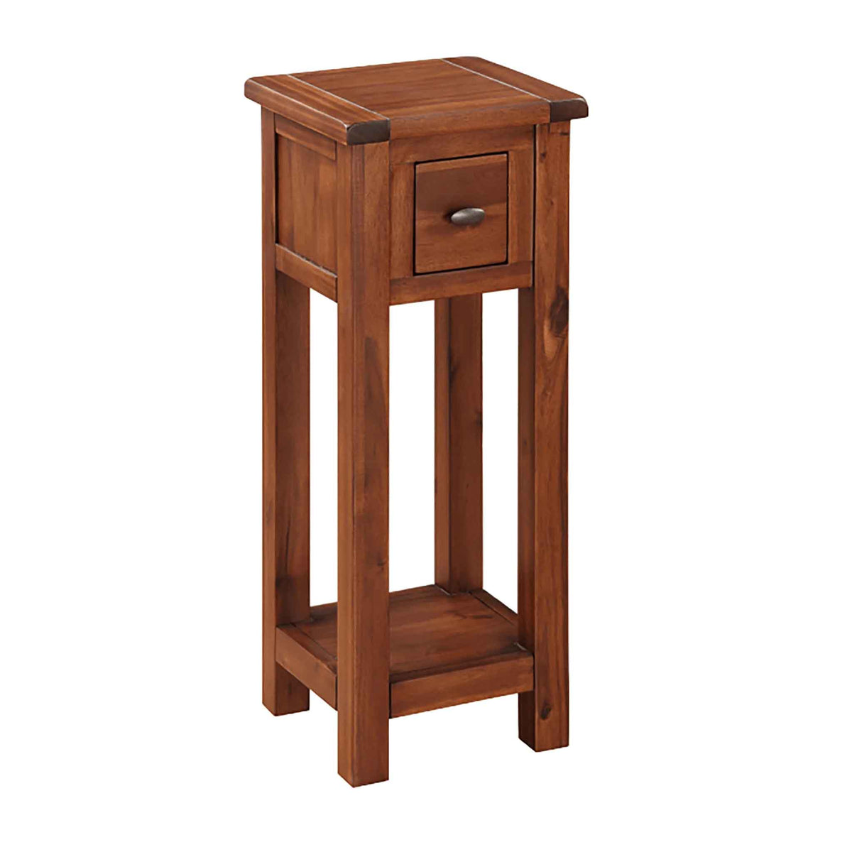 The Prussia Acacia Dark Wood Telephone Table with Small Drawer from Roseland Furniture