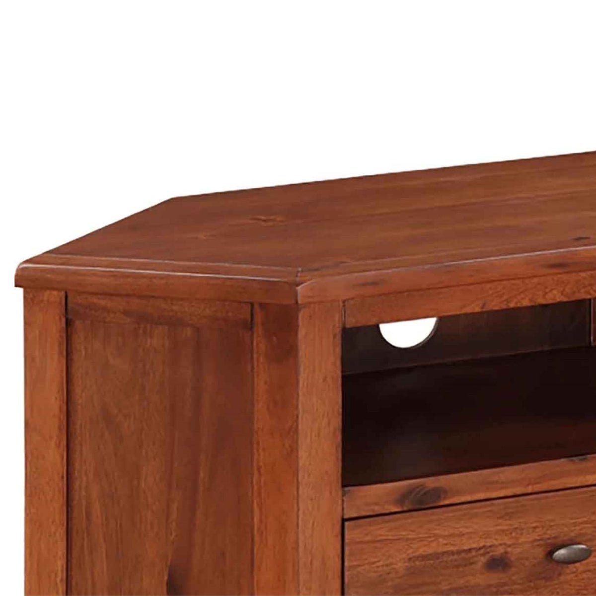 Prussia Acacia Dark Wood Corner TV Unit - Close up of top of unit