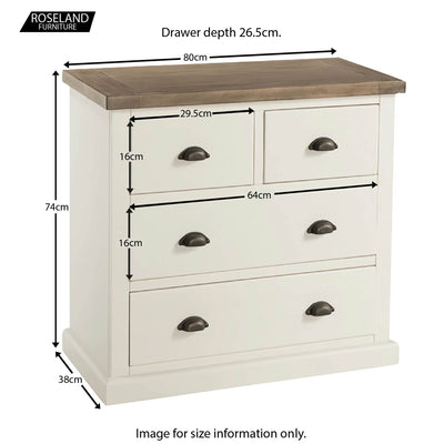 St Ives 2 over 2 Drawer Chest of Drawers - Size Guide