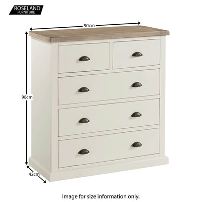 St Ives 2 Over 3 Chest of Drawers - Size Guide