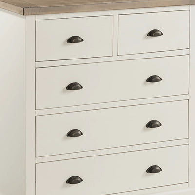 St Ives Painted 2 over 3 Drawer Chest of Drawers - Close Up of Drawer Fronts