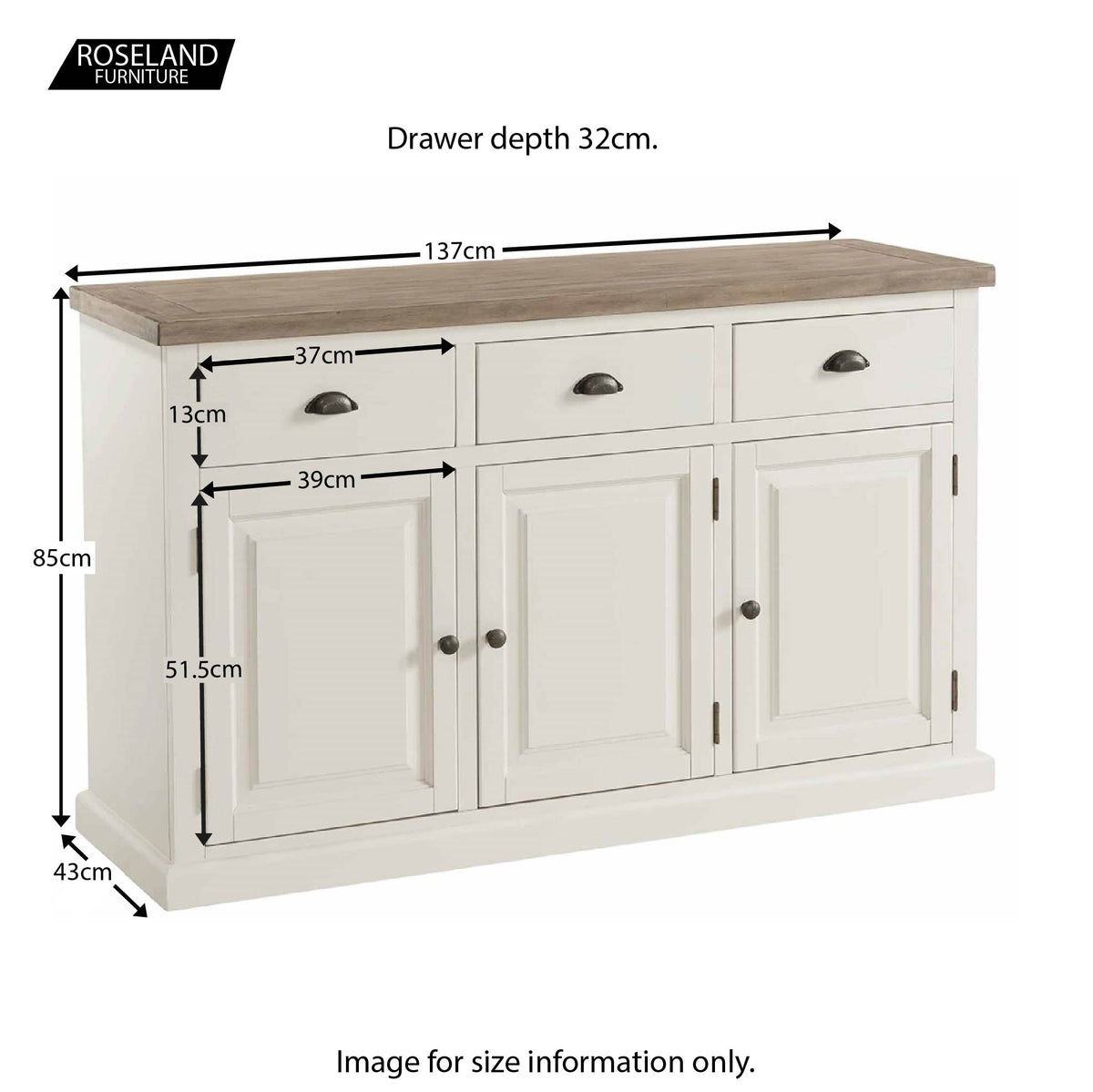 St Ives Large Sideboard - Size Guide