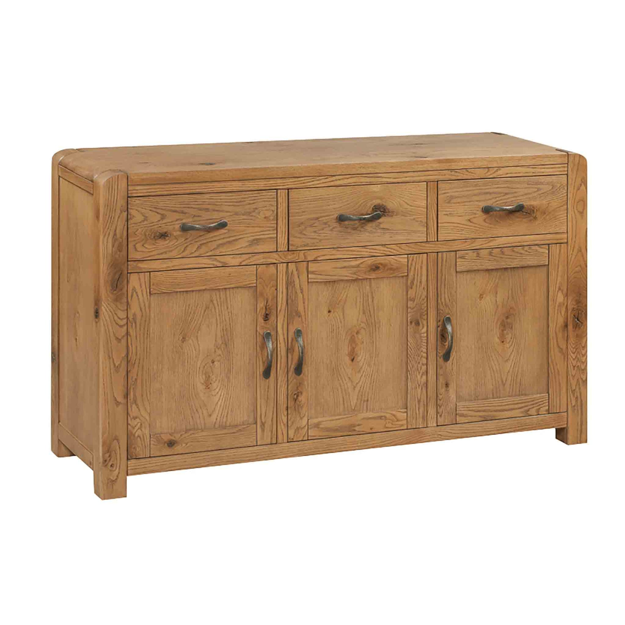 The Capri Oak Chunky Rustic Large Sideboard Cabinet from Roseland Furniture