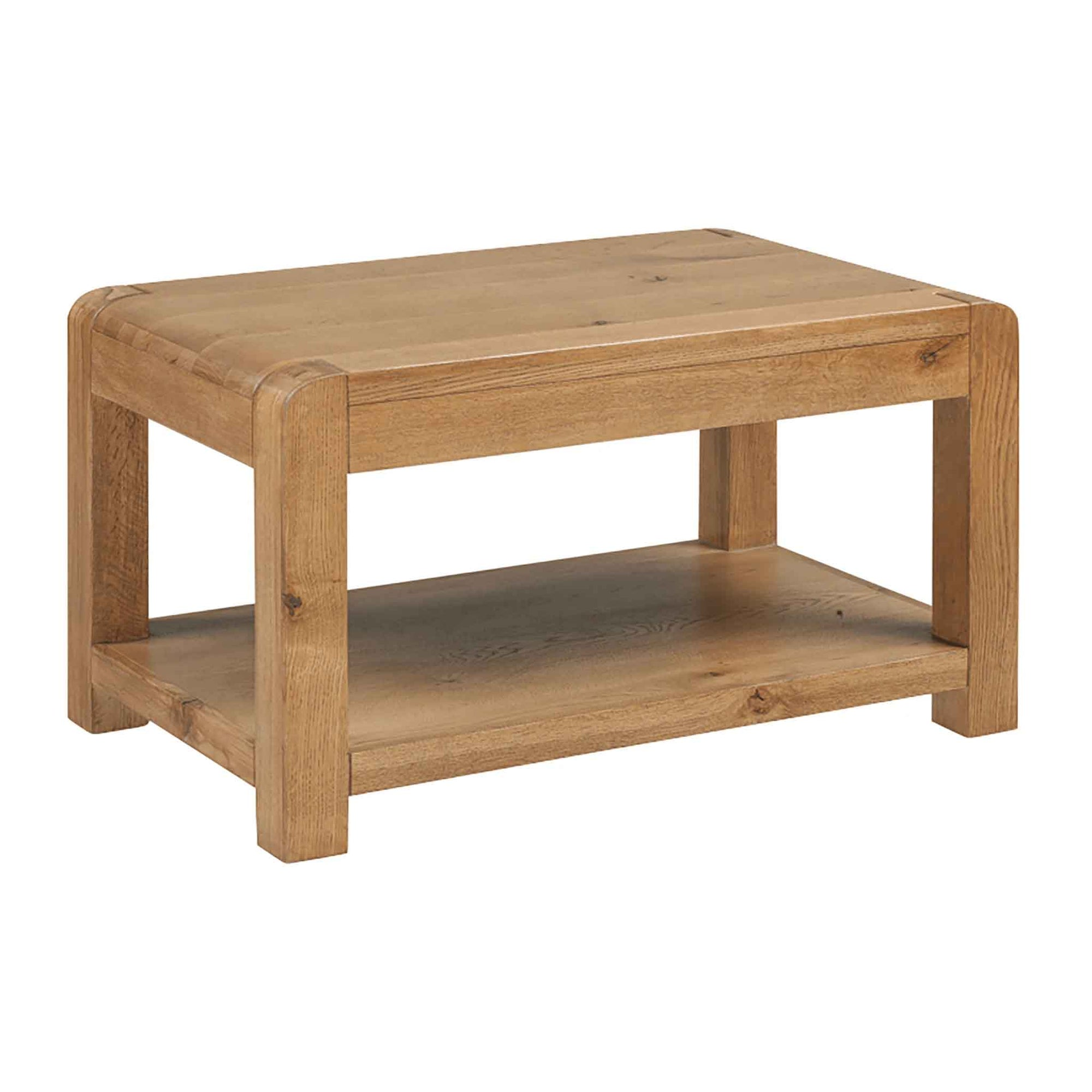 The Capri Oak Chunky Rustic Wooden Coffee Table from Roseland Furniture