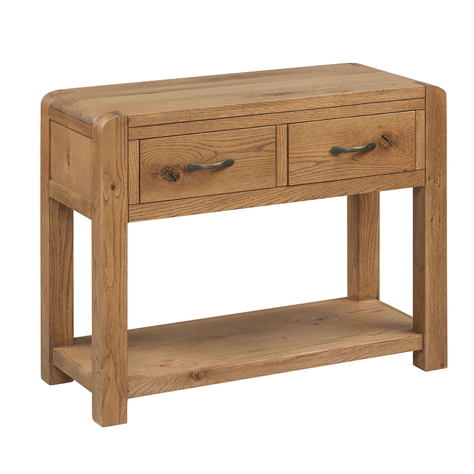 The Capri Oak Chunky Rustic Large Console Table with Drawers from Roseland Furniture
