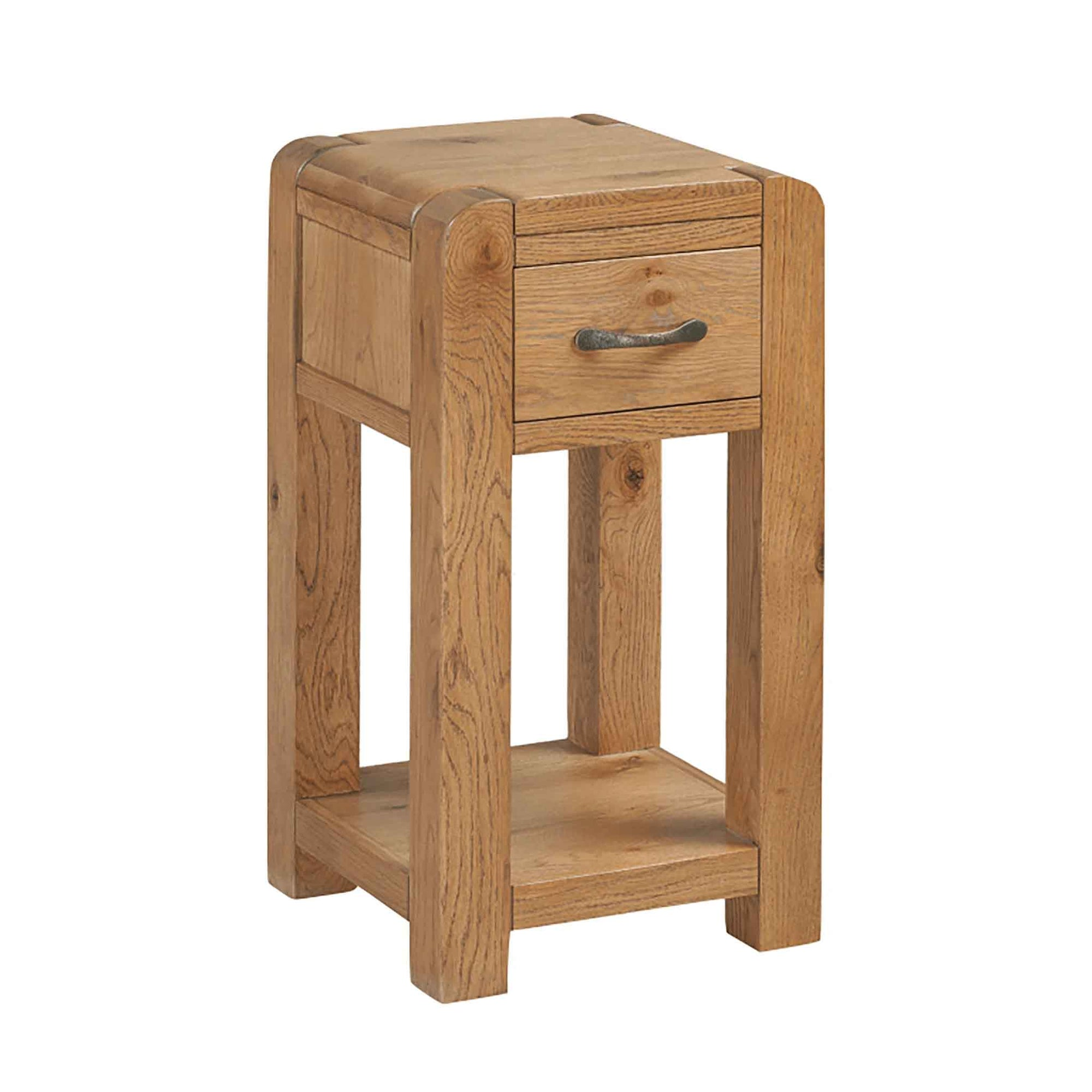 The Capri Oak Chunky Rustic Wooden Telephone Table with Drawer from Roseland Furniture