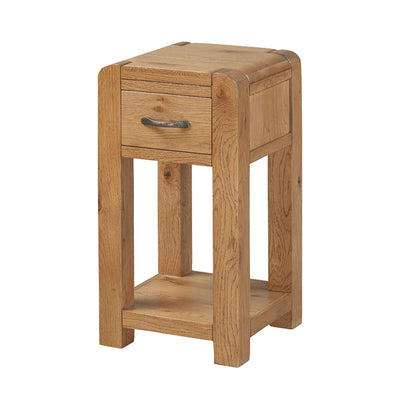 The Capri Oak Rustic Chunky Wooden Telephone Table with Storage from Roseland Furniture