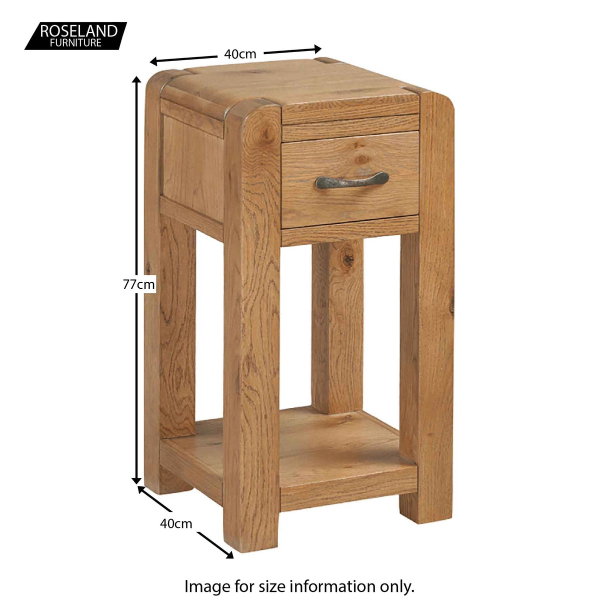 Capri Oak Chunky Rustic Wooden Telephone Table - Size Guide