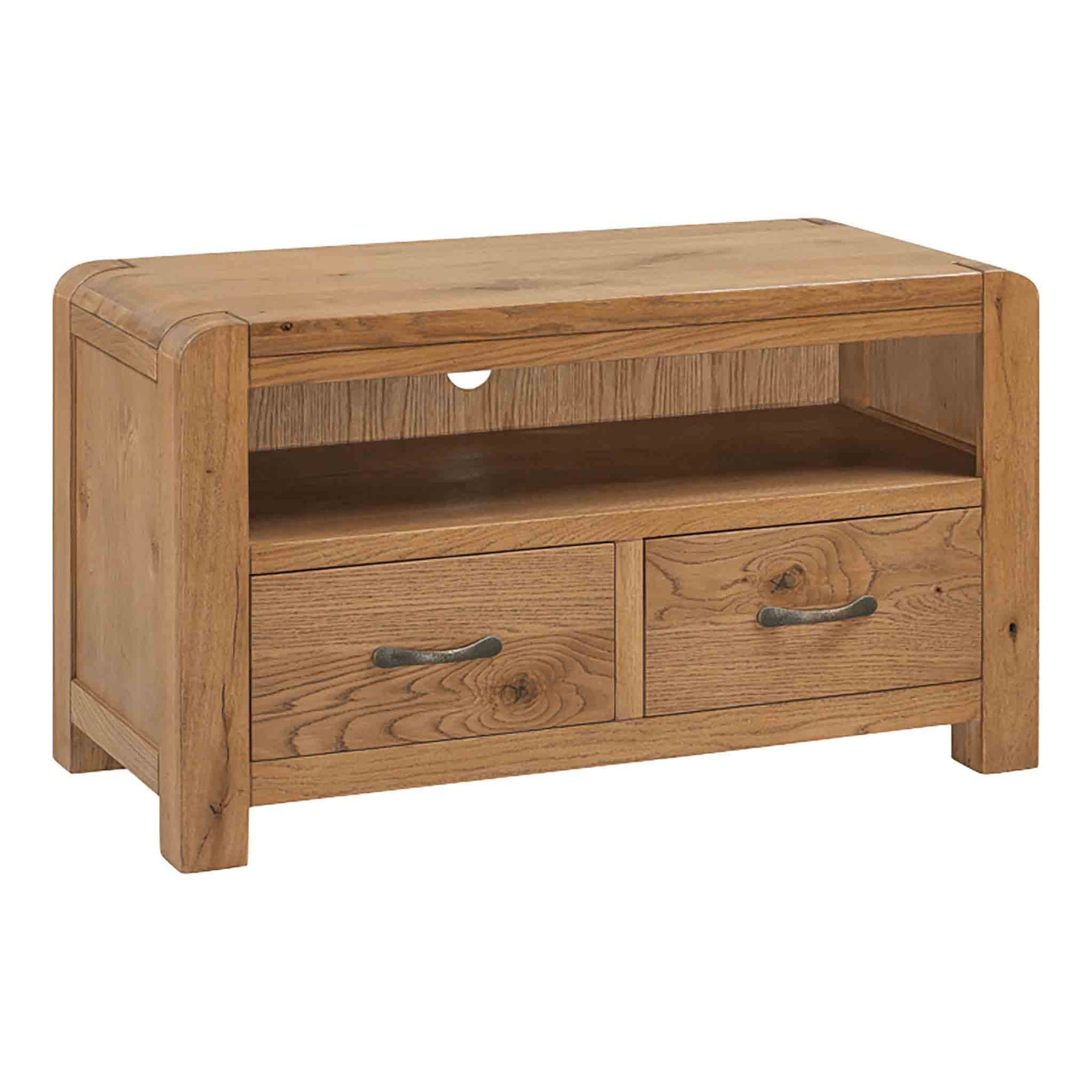 The Capri Oak Small TV Stand Storage Unit from Roseland Furniture