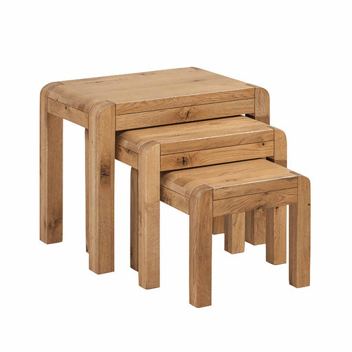 The Capri Oak Rustic Nest of Tables from Roseland Furniture