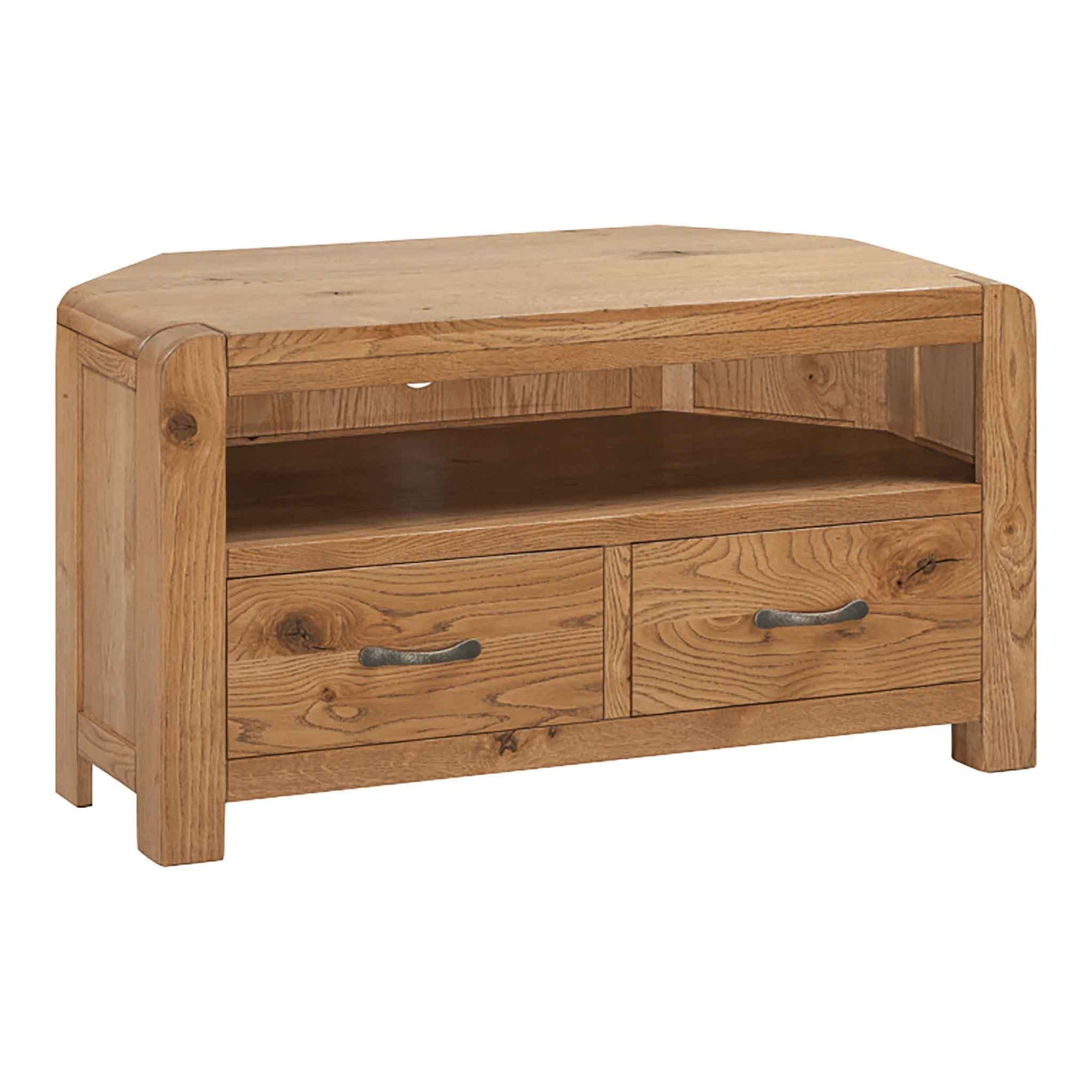 The Capri Oak Rustic Corner TV Stand Storage Unit from Roseland Furniture
