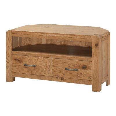 The Capri Oak Chunky Corner TV Stand Storage Cabinet from Roseland Furniture