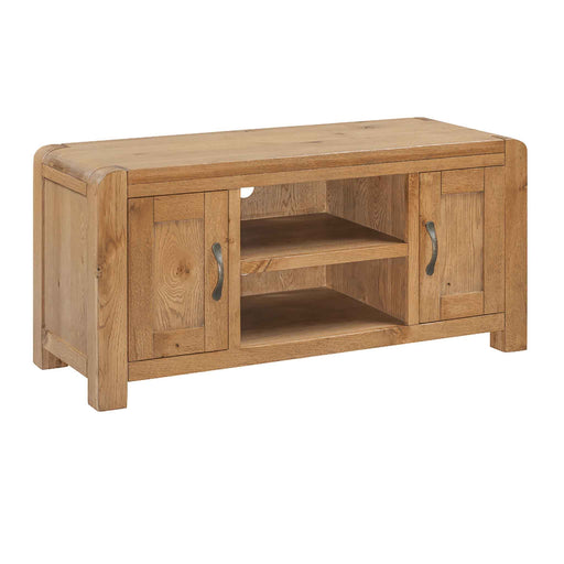The Capri Oak Rustic Large TV Stand and Storage Cabinet from Roseland Furniture