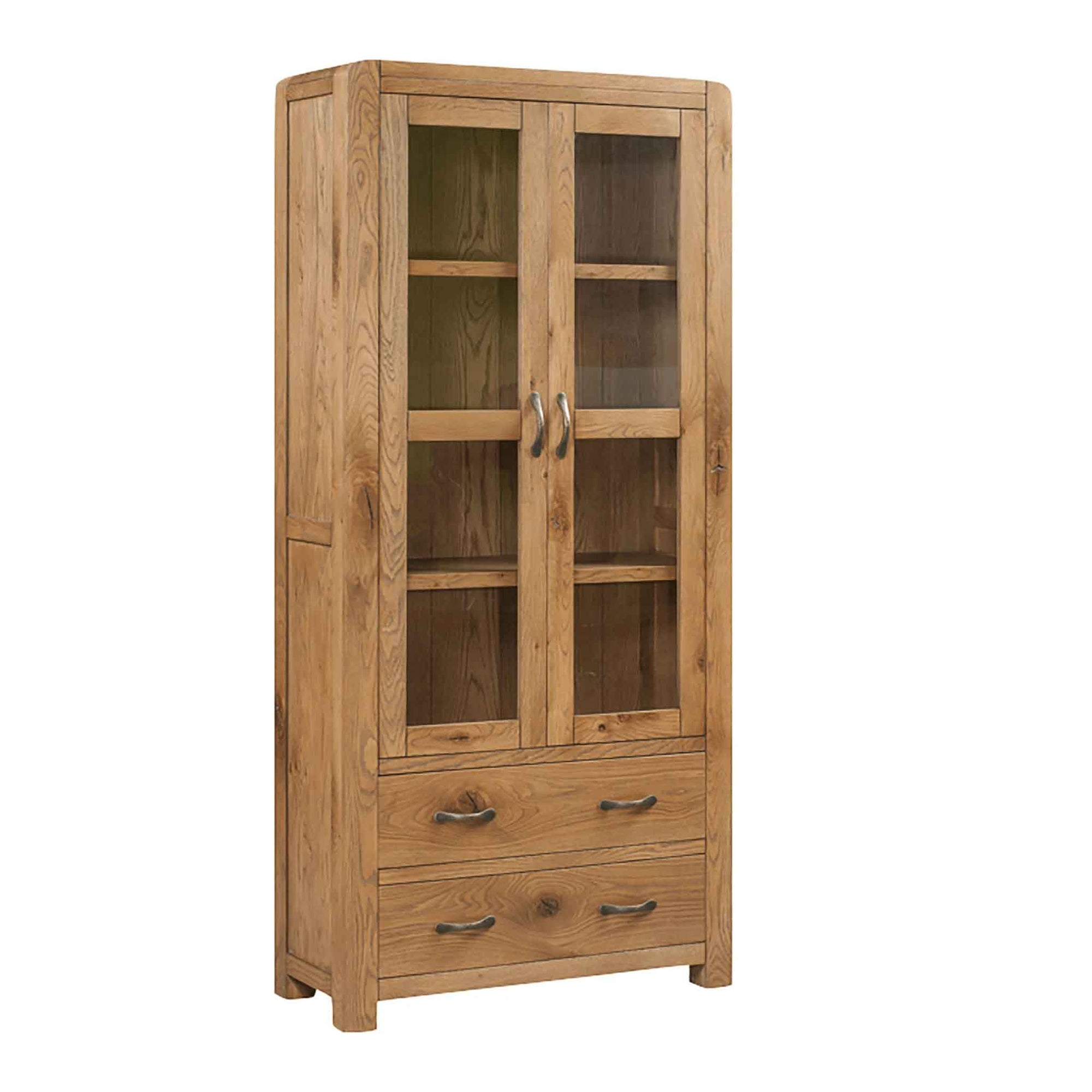 The Capri Oak Chunky Rustic Large Display Cabinet with Glass from Roseland Furniture