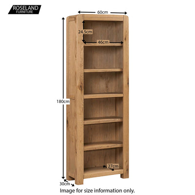 Capri Oak Rustic Tall Slim Bookcase - Size Guide